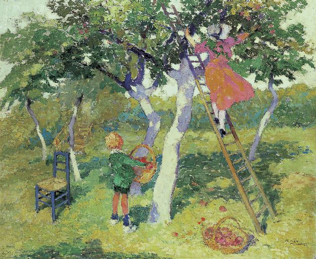 Dumoulin R.  | Picking apples, oil on canvas 70.5 x 85.3 cm, signed l.r.