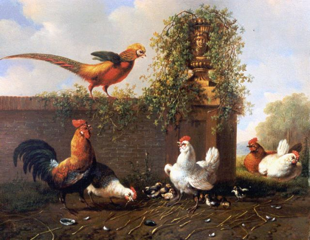 Albertus Verhoesen | Poultry in a classical landscape, oil on panel, 20.8 x 25.9 cm, signed l.l. and dated 1857