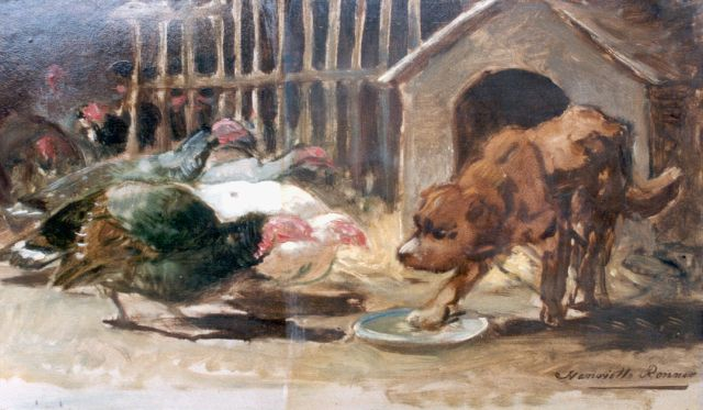 Henriette Ronner-Knip | A dog defending his meal, paper on panel, 24.5 x 41.7 cm, signed l.r.