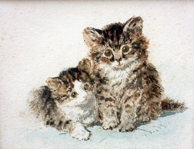 Henriette Ronner-Knip | Two kittens, watercolour on paper, 17.0 x 21.5 cm