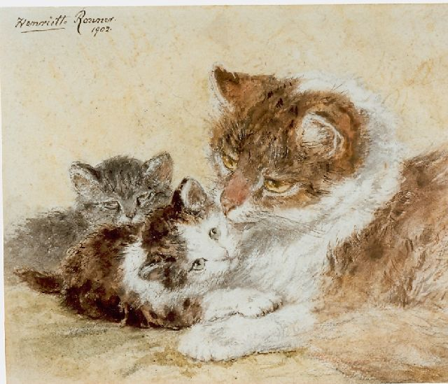 Henriette Ronner-Knip | A mother's bliss, watercolour on paper, 18.5 x 22.5 cm, signed u.l. and dated 1902