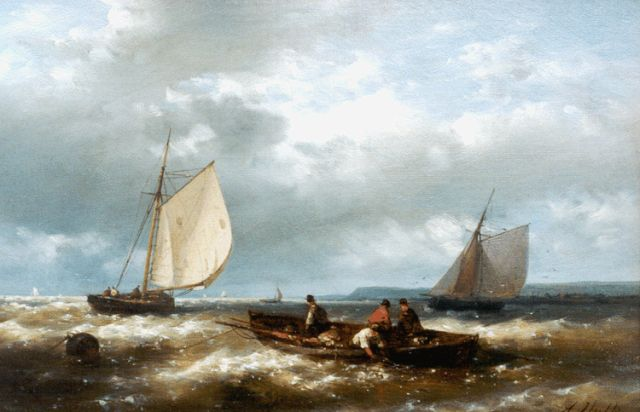 Abraham Hulk | Sailors in a row-boat off the coast, oil on canvas, 20.4 x 30.6 cm, signed l.r.