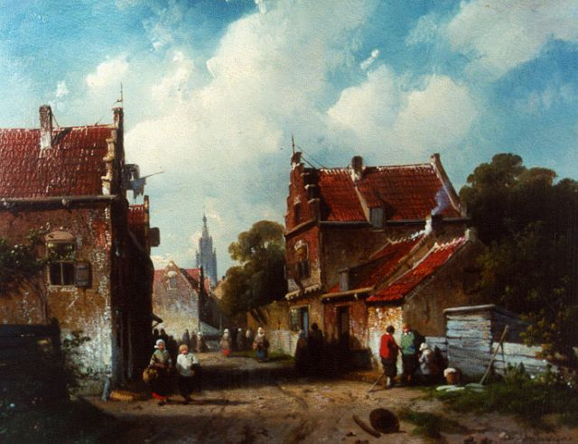 Charles Leickert | Figures in a street, oil on panel, 21.3 x 26.7 cm, signed l.r.