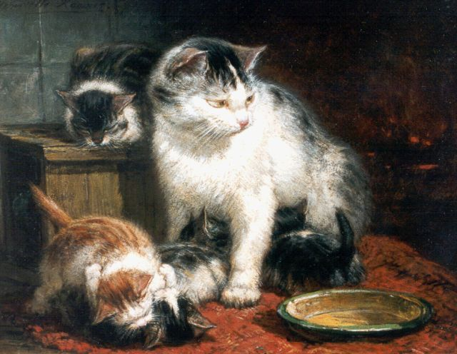 Henriette Ronner-Knip | A watchful mother, oil on panel, 16.1 x 20.3 cm, signed u.l.