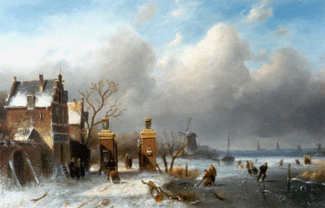 Charles Leickert | Skaters on a frozen waterway, oil on panel, 25.0 x 40.0 cm, signed l.r.