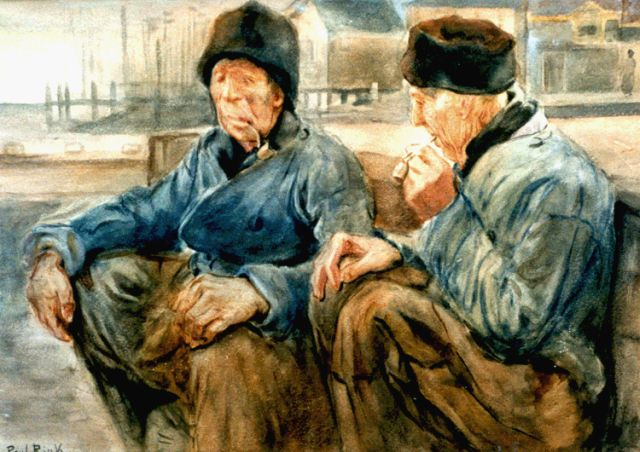 Paul Rink | Two fishermen from Volendam, watercolour on paper, 36.8 x 50.8 cm, signed l.l.