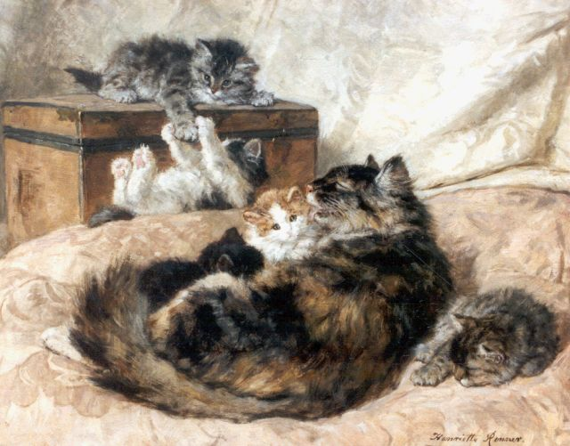 Henriette Ronner-Knip | Mother's pride 1898, oil on panel, 45.6 x 56.0 cm, signed l.r. and dated '98