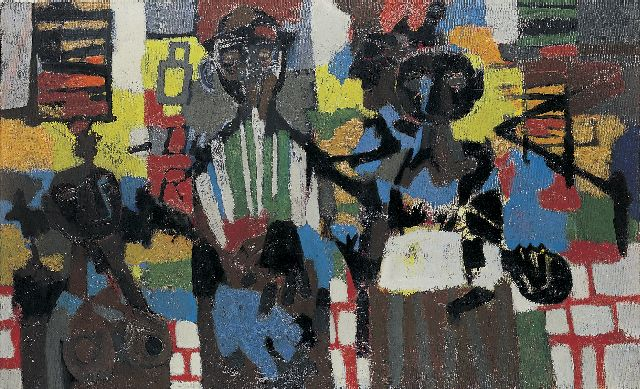 Theo Bitter | Harlem, oil on canvas, 75.0 x 120.5 cm, signed l.r. and dated '62 on the reverse