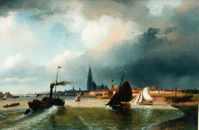 Nicolaas Johannes Roosenboom | Paddle steamer on the Schelde, Antwerpen, oil on panel, 35.0 x 52.3 cm, signed l.r.