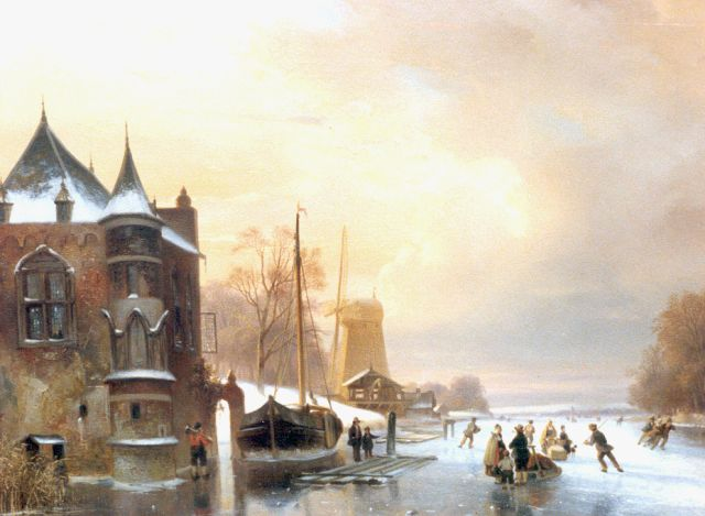 Nicolaas Johannes Roosenboom | A winter landscape with skaters on the ice, oil on panel, 49.5 x 63.0 cm, signed l.l.