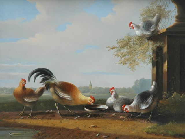 Albertus Verhoesen | Chicken near a garden vase, oil on panel, 24.3 x 31.3 cm, signed l.l. and painted 1850