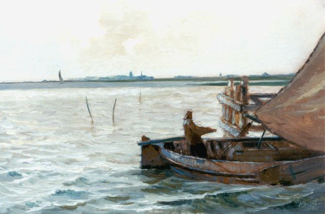 Anthonie Pieter Schotel | Flatboat on the Ijsselmeer, oil on canvas, 32.5 x 48.5 cm, signed l.r. and dated '26