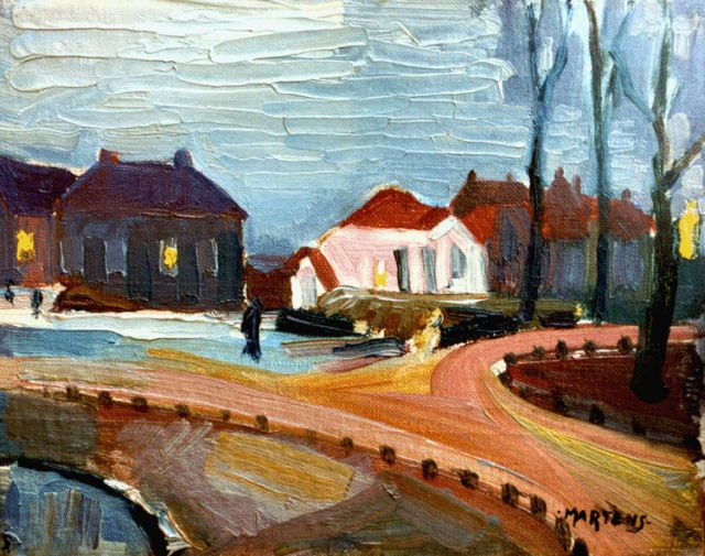 George Martens | Noorderplantsoen, Groningen, oil on canvas laid down on painter's board, 18.3 x 23.3 cm, signed l.r. and painted between 1920-1922