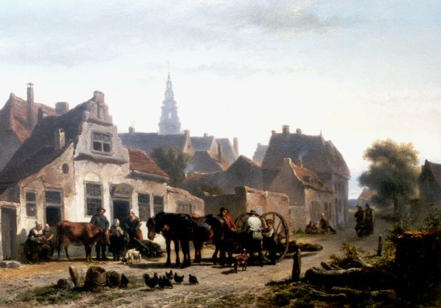 Wouterus Verschuur | A view of a Dutch town, oil on panel, 37.0 x 53.3 cm, signed l.l.