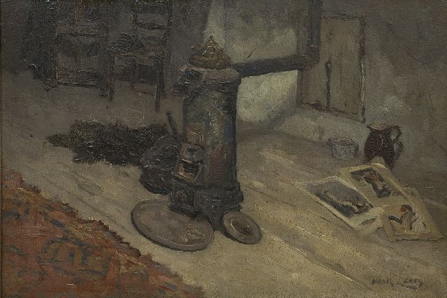 Leurs H.J.  | Interior with a round iron stove, oil on canvas 40.6 x 60.5 cm, signed l.r.