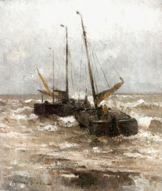 German Grobe | 'Bomschuiten' setting out for Sea, oil on canvas, 40.8 x 34.6 cm, signed l.l.
