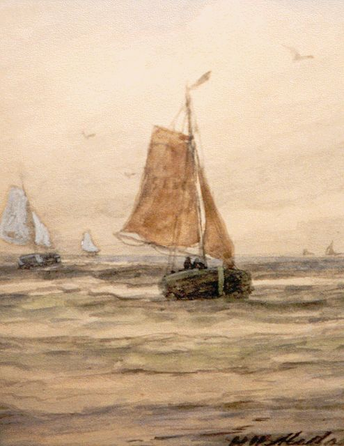 Hendrik Willem Mesdag | 'Bomschuiten' in full sail, watercolour on paper, 18.3 x 13.0 cm, signed l.r.