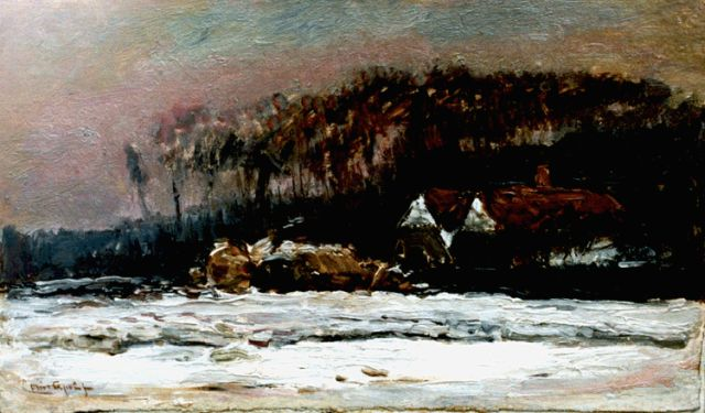 Louis Apol | A farm in winter, oil on canvas, 24.5 x 40.2 cm, signed l.l.