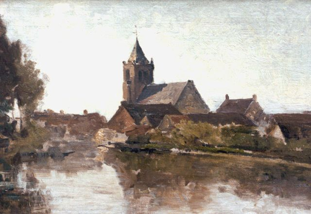 Paul Joseph Constantin Gabriel | View of Giesen Nieuwkerk, oil on canvas laid down on panel, 28.6 x 41.2 cm, signed l.l. and dated '98