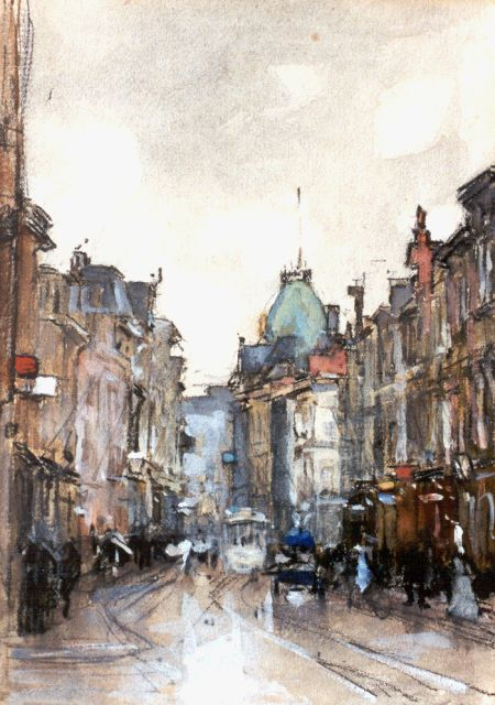 Floris Arntzenius | A view of the 'Gravenstraat', Den Haag, black chalk and watercolour on paper, 20.1 x 14.8 cm, signed l.r.