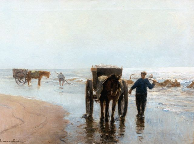 German Grobe | Shell-gatherers on the beach of Katwijk, oil on canvas, 55.9 x 74.6 cm, signed l.l.