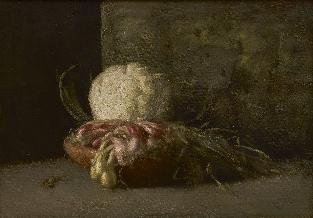 Georg Rueter | Still life with cauliflower and shallots, oil on canvas, 32.0 x 46.0 cm