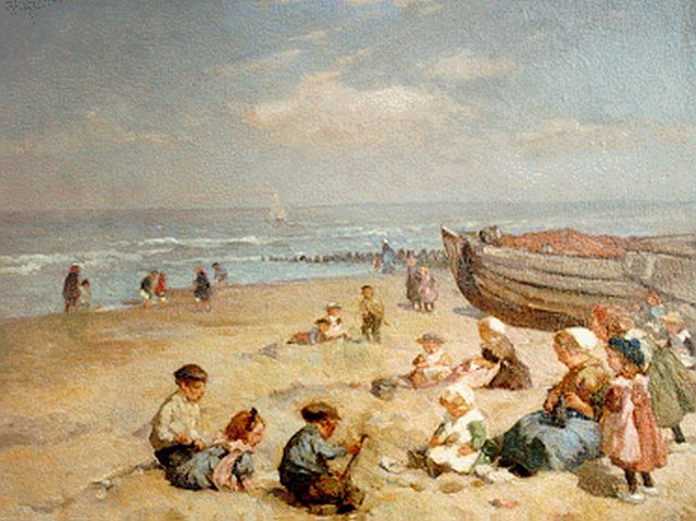 Johannes Evert Hendrik Akkeringa | Children playing at the beach, oil on canvas, 37.4 x 47.0 cm, signed l.l.