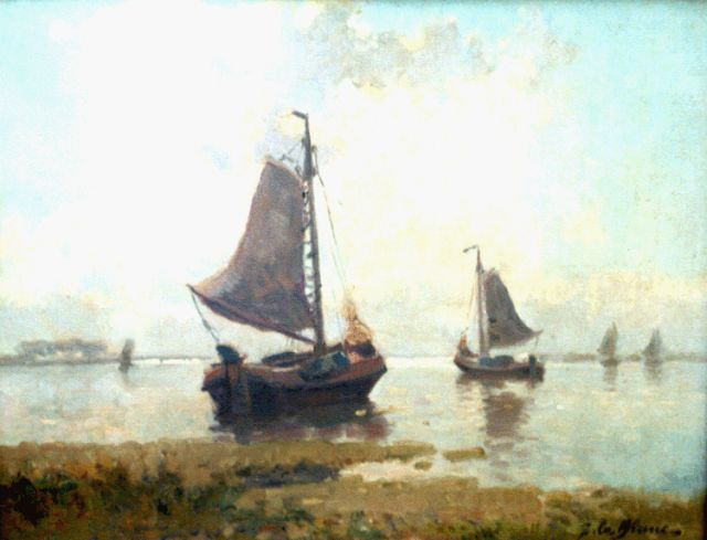 Adriaan Christiaan Willem Terhell | Shipping in a calm, oil on canvas, 35.5 x 45.5 cm, signed l.r.