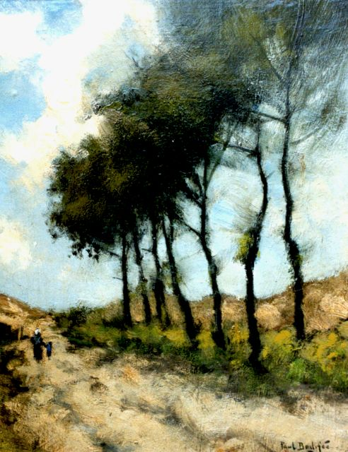 Paul Bodifée | Travellers on a country lane, 31.5 x 25.3 cm, signed l.r.