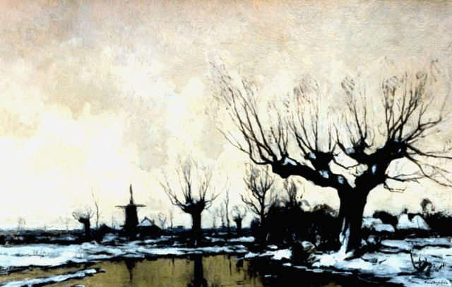 Paul Bodifée | A winter landscape with a windmill, oil on canvas, 47.2 x 74.7 cm, signed l.r.