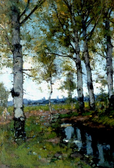 Paul Bodifée | Birches, oil on painter's board, 46.5 x 32.4 cm, signed l.l.