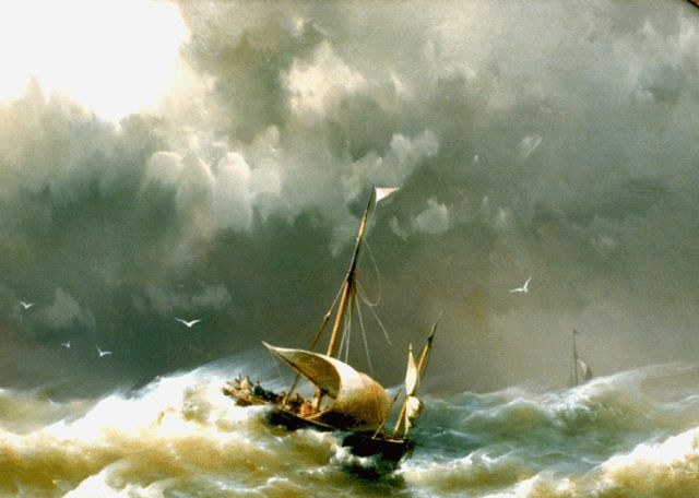 Hermanus Koekkoek jr. | Vessels caught in a squall, oil on panel, 30.7 x 44.5 cm, signed l.r. and dated 1862