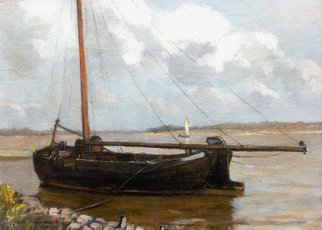 Xeno Münninghoff | A moored flatboat, oil on canvas laid down on painter's board, 21.4 x 29.4 cm, signed l.l.