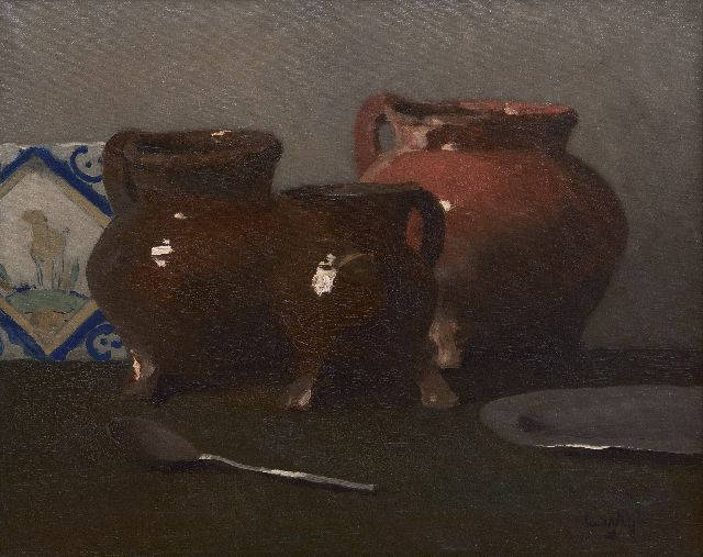Leendert van der Vlist | Still life with lead glaze jars, oil on canvas, 40.2 x 50.2 cm, signed l.r.