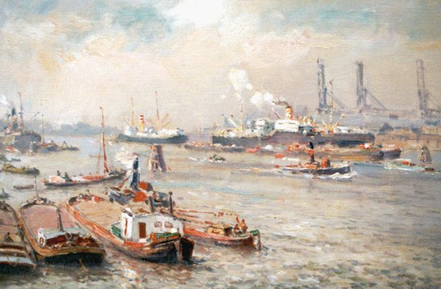 Evert Moll | Harbour activities, Rotterdam, oil on canvas, 40.0 x 60.0 cm, signed l.r.
