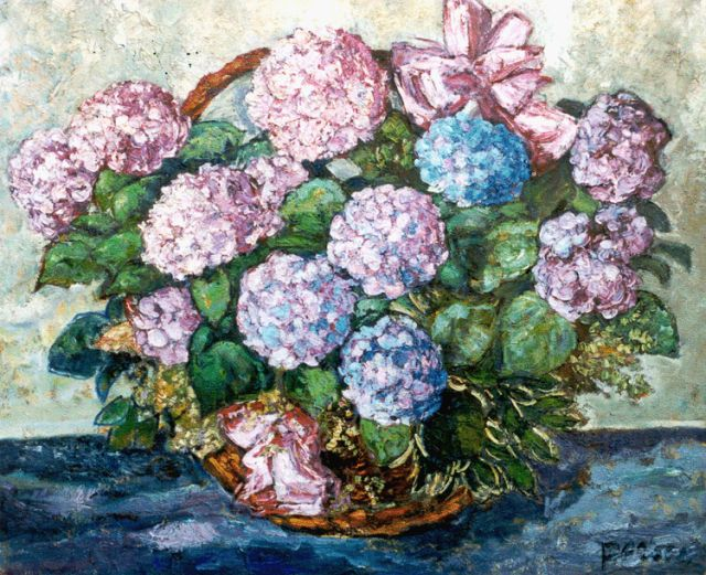 Jacobus Doeser | Hydrangeas, oil on canvas, 113.0 x 137.7 cm, signed l.r.