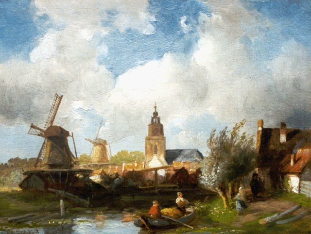 Charles Leickert | A river landscape, with a village beyond, oil on panel, 19.0 x 24.7 cm, signed l.l.
