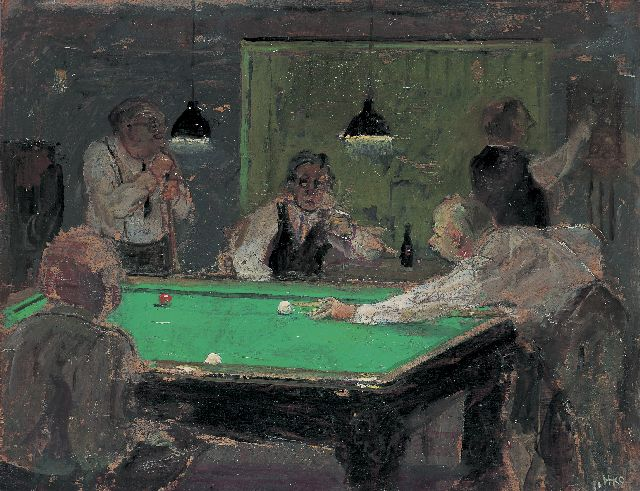 Harm Kamerlingh Onnes | Playing billiards, 33.2 x 42.2 cm, signed l.r. with monogram and dated '71