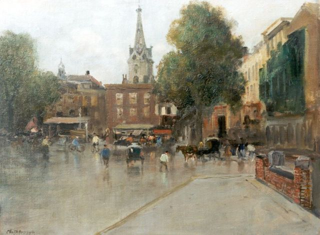 Charles Paul Gruppe | Buitenhof, The Hague, oil on canvas laid down on painter's board, 30.2 x 40.5 cm, signed l.l.