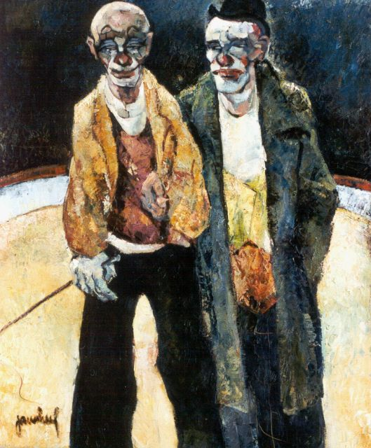 Jan van Heel | Two Clowns, oil on canvas, 60.3 x 50.5 cm, signed l.l.