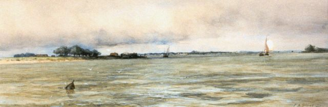 Piet Schipperus | Shipping on a river, watercolour on paper, 28.0 x 76.5 cm, signed l.r.