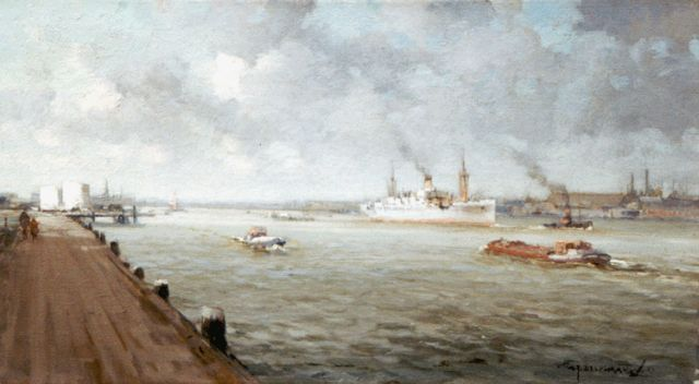 Gerard Delfgaauw | A view of the 'Nieuwe Maas', Rotterdam, oil on canvas, 25.3 x 45.2 cm, signed l.r. and dated '38