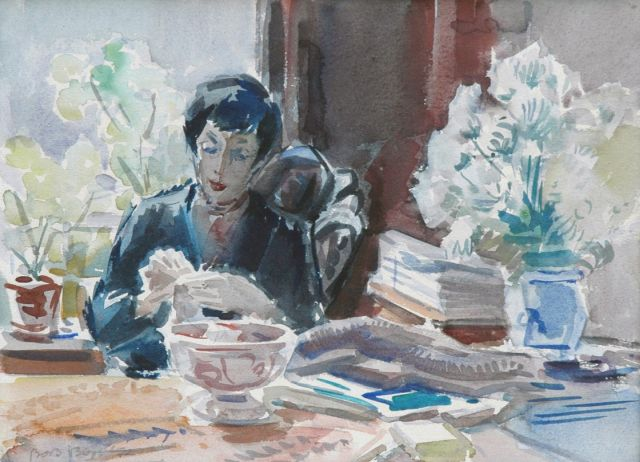 Bob Buijs | Interior with the hatter Mies Sanders, watercolour on paper, 27.5 x 37.3 cm, signed l.l. and dated '52