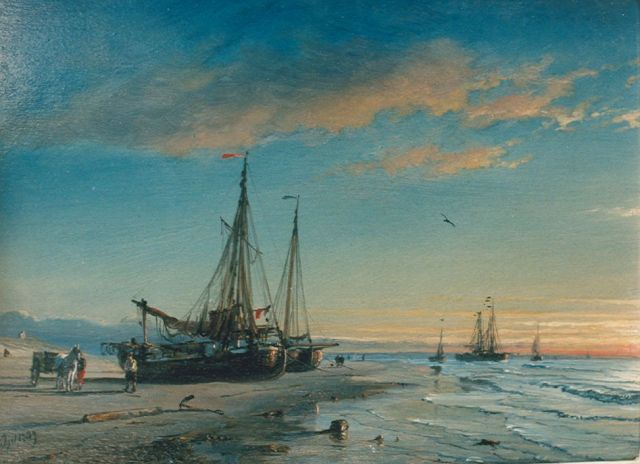 Petrus Paulus Schiedges | Shipping on the beach, oil on panel, 20.7 x 28.0 cm, signed l.l. and dated 1809