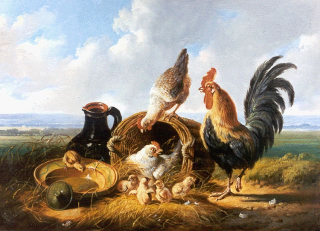 Albertus Verhoesen | Poultry in an extensive landscape, oil on panel, 17.8 x 24.3 cm, signed l.l. and dated 1879
