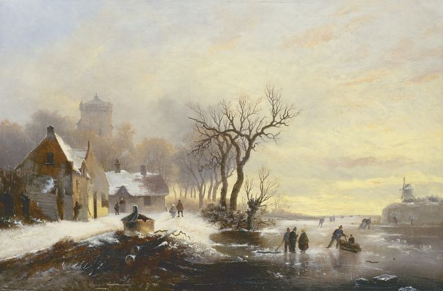 Alexis de Leeuw | Skaters on the ice with a village beyond, oil on canvas, 40.6 x 61.0 cm