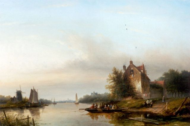 Jacob Jan Coenraad Spohler | A river landscape with a ferry, oil on canvas, 65.0 x 93.2 cm, signed l.r.