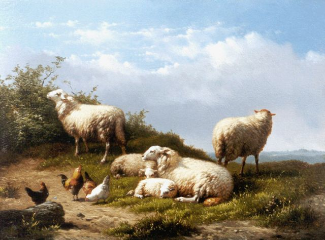 Eugène Remy Maes | Sheep and poultry in a landscape, oil on panel, 18.8 x 25.0 cm, signed l.r.