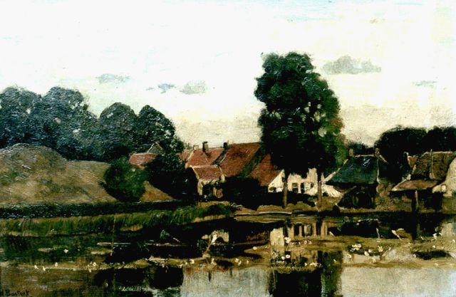 Nicolaas Bastert | A view of the Fortgracht, Nieuwersluis, oil on canvas, 31.2 x 47.2 cm, signed l.l.