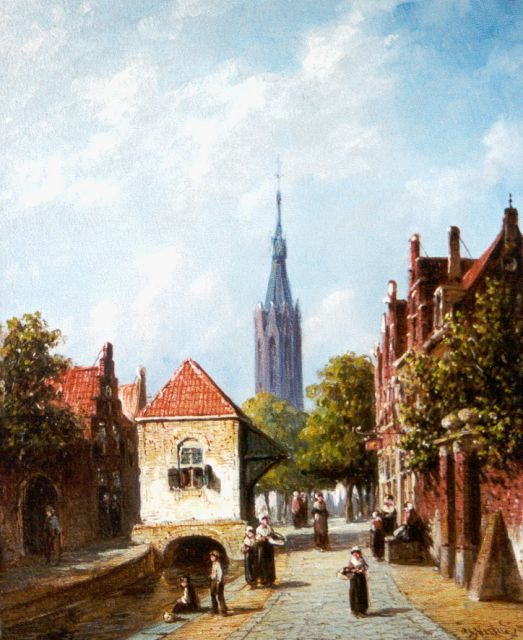 Petrus Gerardus Vertin | A town view of Delft with the Nieuwe Kerk beyond, oil on panel, 21.4 x 17.4 cm, signed l.r. and dated '85